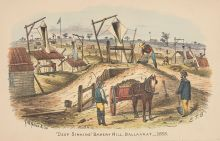 A colour illustration of three men working at a gold mine. One man stands atop a pile, scooping dirt into a bucket and another stands watching, holding a shovel. A horse with loaded cart stands at centre, watched by a man with a whip resting on his shoulder.