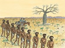 Colour illustration showing nine Aboriginal men chained at the neck, walking in single file. They wear white loin cloths and headbands. Two European policeman on horseback are to the right of the men.