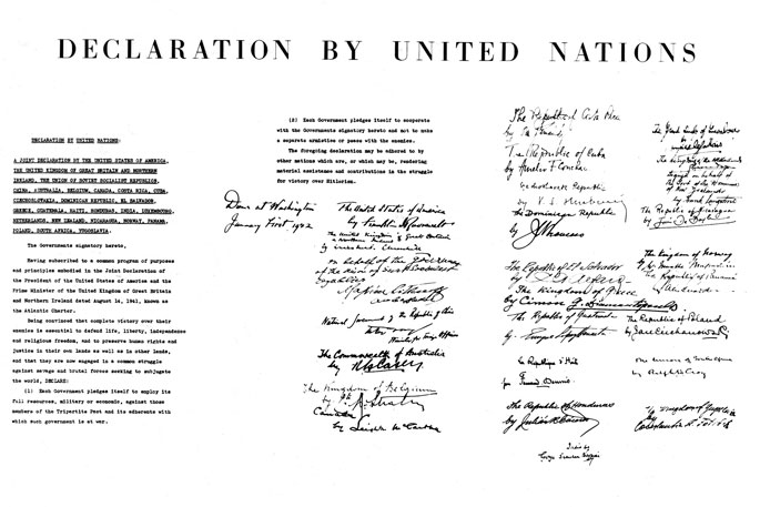 document entitled 'Declaration by United Nations' with several paragraphs of typed text and 26 signatures