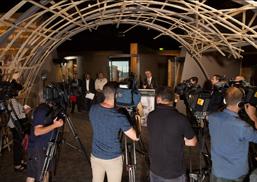 National Museum Director Dr Mathew Trinca addresses representatives of the media.