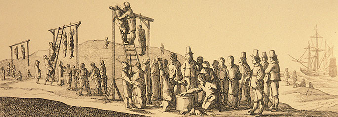 Etching showing three gibbets with bodies hanging from them. About 20 people are standing around. Some of the mutineers are being prepared for hanging. One is about to have his hand chopped off.