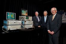 Scientists who contributed to CSIRO's wireless invention (from left) John O'Sullivan, Terry Percival and Graham Daniels, at the media event to announce the prototype's inclusion as the 101st object the exhibition A History of the World in 100 Objects.