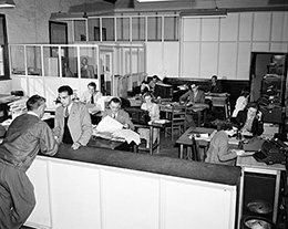 Photo of workers at the Cooma office of the Snowy Hydro scheme