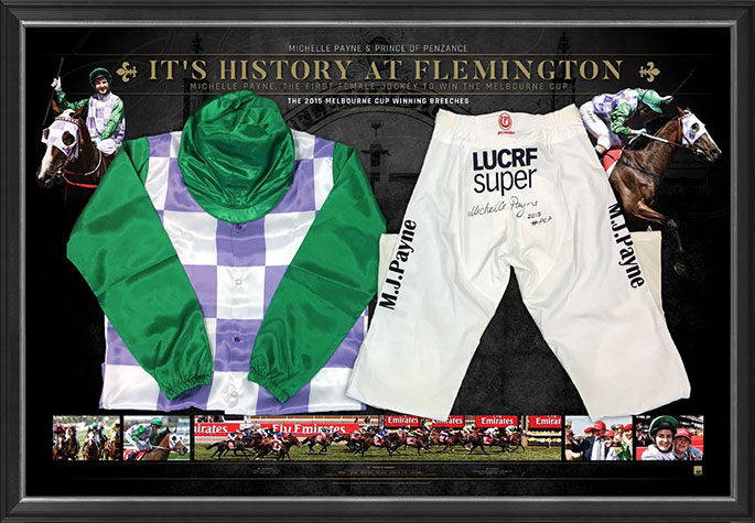 Melbourne Cup winner, Michelle Payne's riding breeches framed