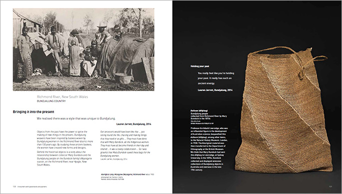 A sample page from the Encounters book about objects in the exhibition from the Richmond River, New South Wales.