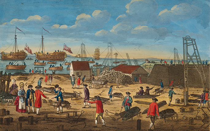 colourful illustration showing men pushing wheelbarrows on a construction site, with ships in the background