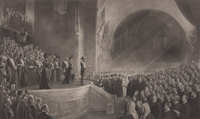 Painting of opening of parliament by Tom Roberts