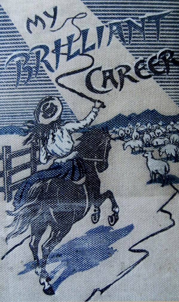 Cover shows illustration of a woman on a horseback charging towards flock of sheep cracking a whip. The title is included but not the author. - click to view larger image