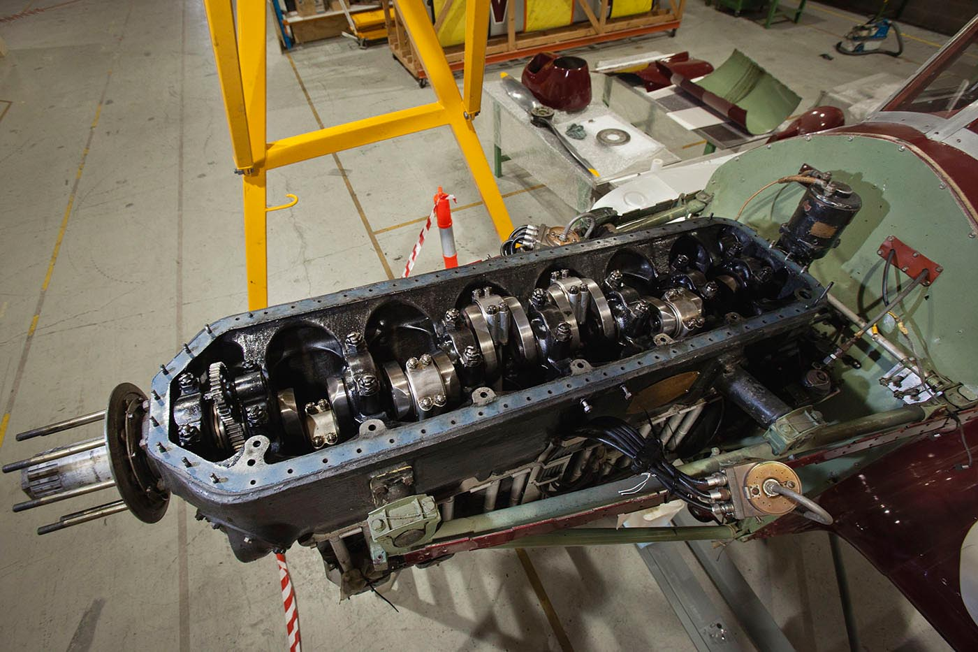 View of the Gull's de Havilland Gipsy Six engine from above, with crankcase cover removed. - click to view larger image