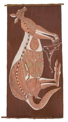 An Indigenous bark painting depicting a kangaroo