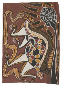 An Indigenous bark painting depicting Totems of the Manharrngu, Mortuary Rites