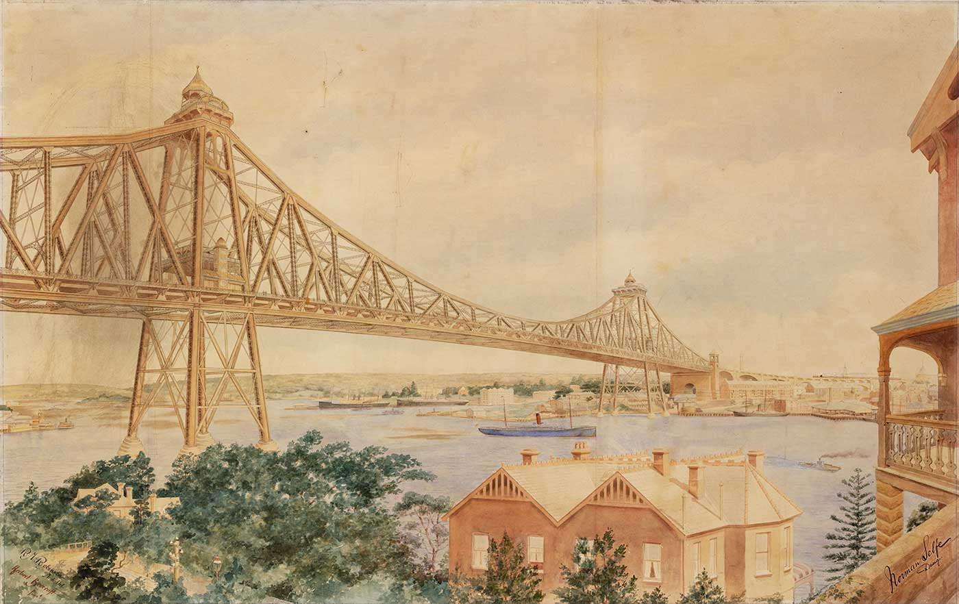 Pencil and watercolour image showing a bridge across a body of water. - click to view larger image