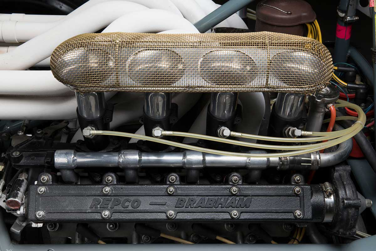 Side view of V8 car engine. - click to view larger image
