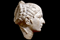 stone sculpture of Cleopatra's head