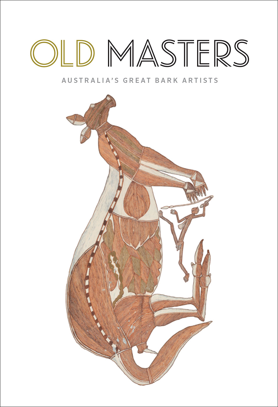 A painting of a kangaroo with the text 'Old Masters: Australia's Great Bark Artists'