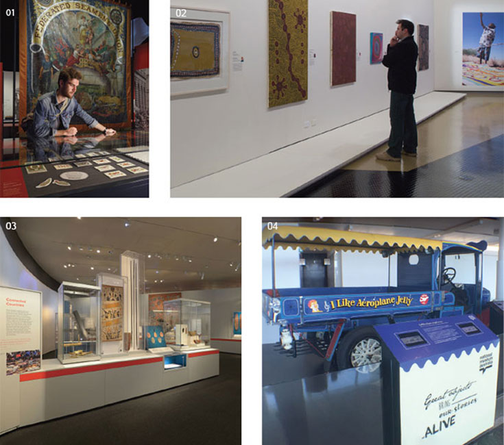 Four images (clockwise from top left): a man viewing objects in a museum exhibition; a man standing in front of an Indigenous artwork; side view of a truck painted with the slogan 'I Like Aeroplane Jelly'; Indigenous artworks and objects on show in display cases.