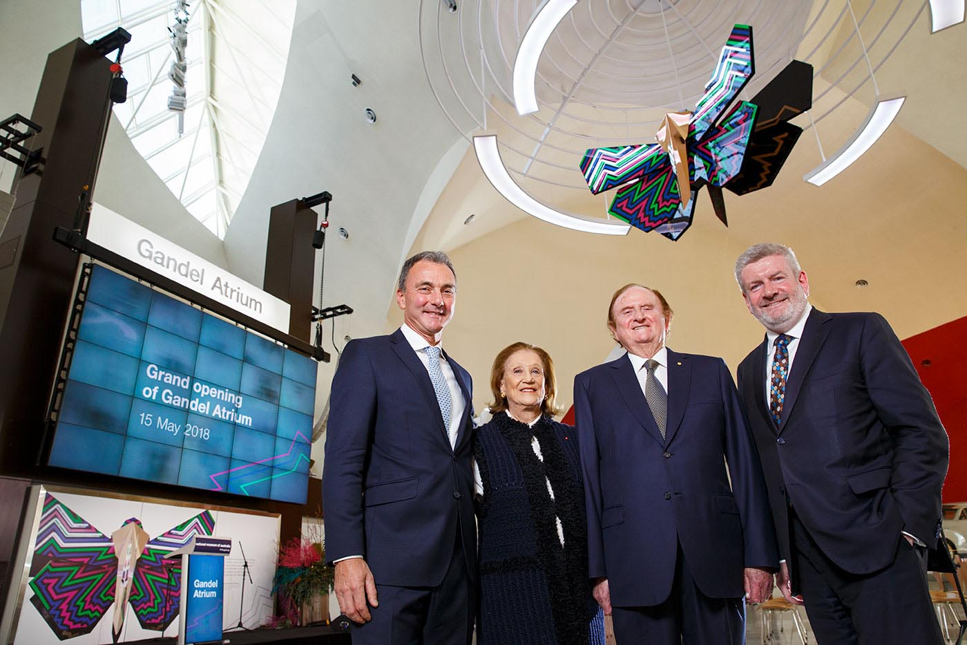 National Museum of Australia Director Mathew Trinca, Pauline and John Gandel AC and Senator the Hon Mitch Fifield, Minister for Communications and the Arts.
