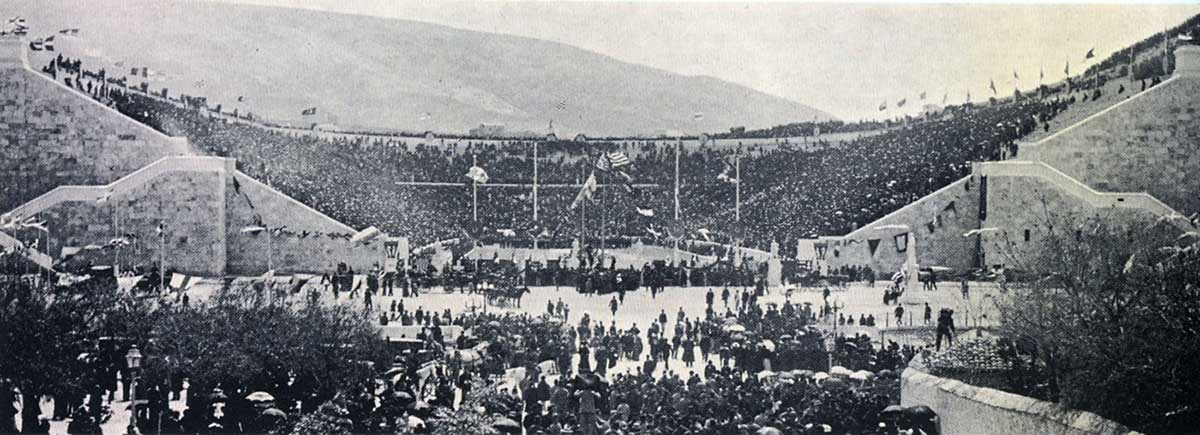 The Panathenaic Stadium in Athens during the first day of the 1896 Olympic Games.