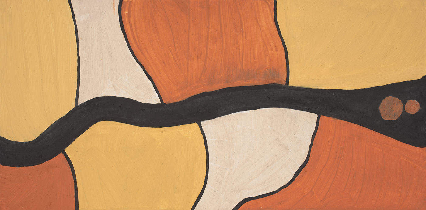 A painting features a horizontal wavy black line across the centre and two large orange dots to the left side of it. In the top section there are four coloured sections of different shapes in the order of orange, white, yellow and orange. Each colour is divided by a black line. Across the bottom, the coloured sections are yellow, orange, white and yellow which are also divided by a black line.  - click to view larger image