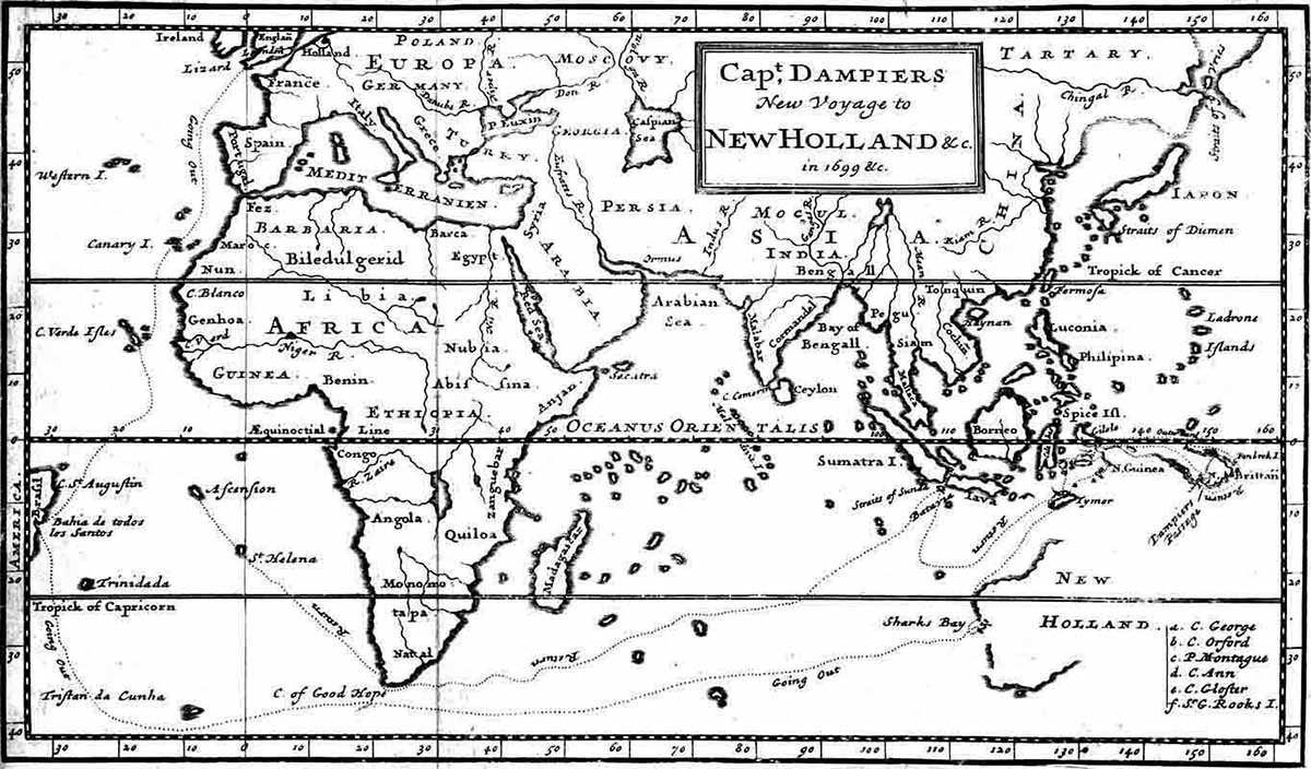 William Dampier's map showing Europe, Africa, Asia and the west coast of Australia