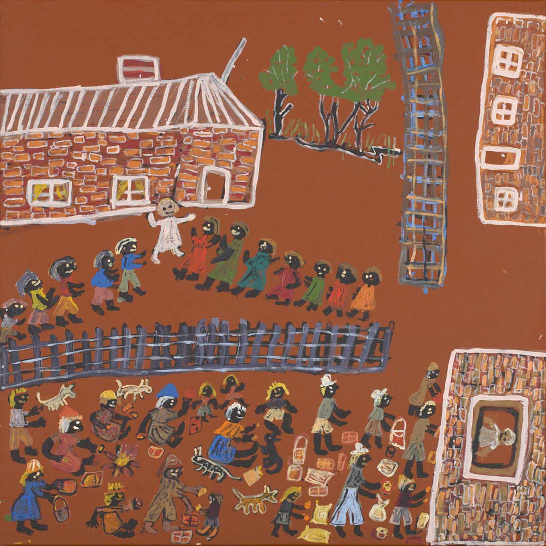 An acrylic painting on canvas showing brick buildings and groups of people, some working with or trading goods, and some standing in lines. - click to view larger image