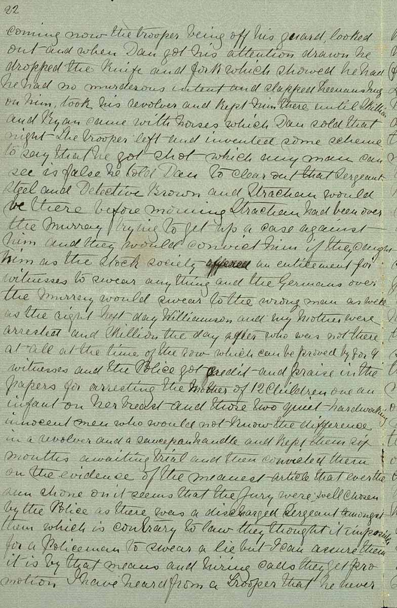 Page twenty two of Ned Kelly's Jerilderie letter. - click to view larger image