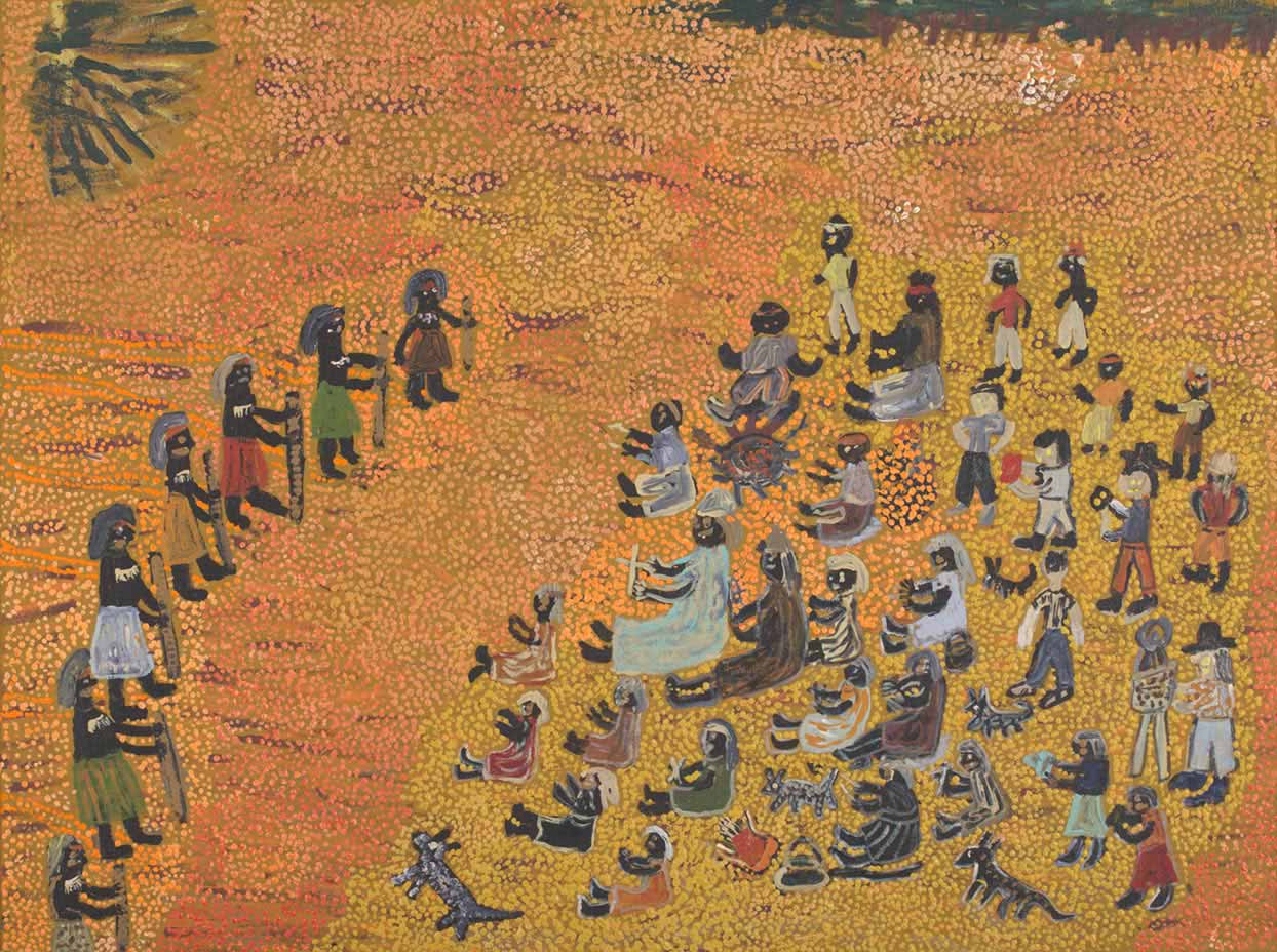 An acrylic painting on canvas showing seven people standing and facing a larger group of people, against a yellow and orange dot infill background. - click to view larger image