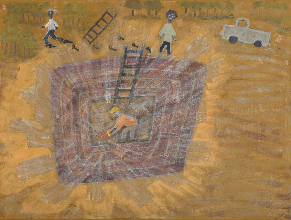 An acrylic painting on canvas showing an aerial view of a blast coming from a square cut hole. There is a person at the bottom of the hole and two others above. - click to view larger image