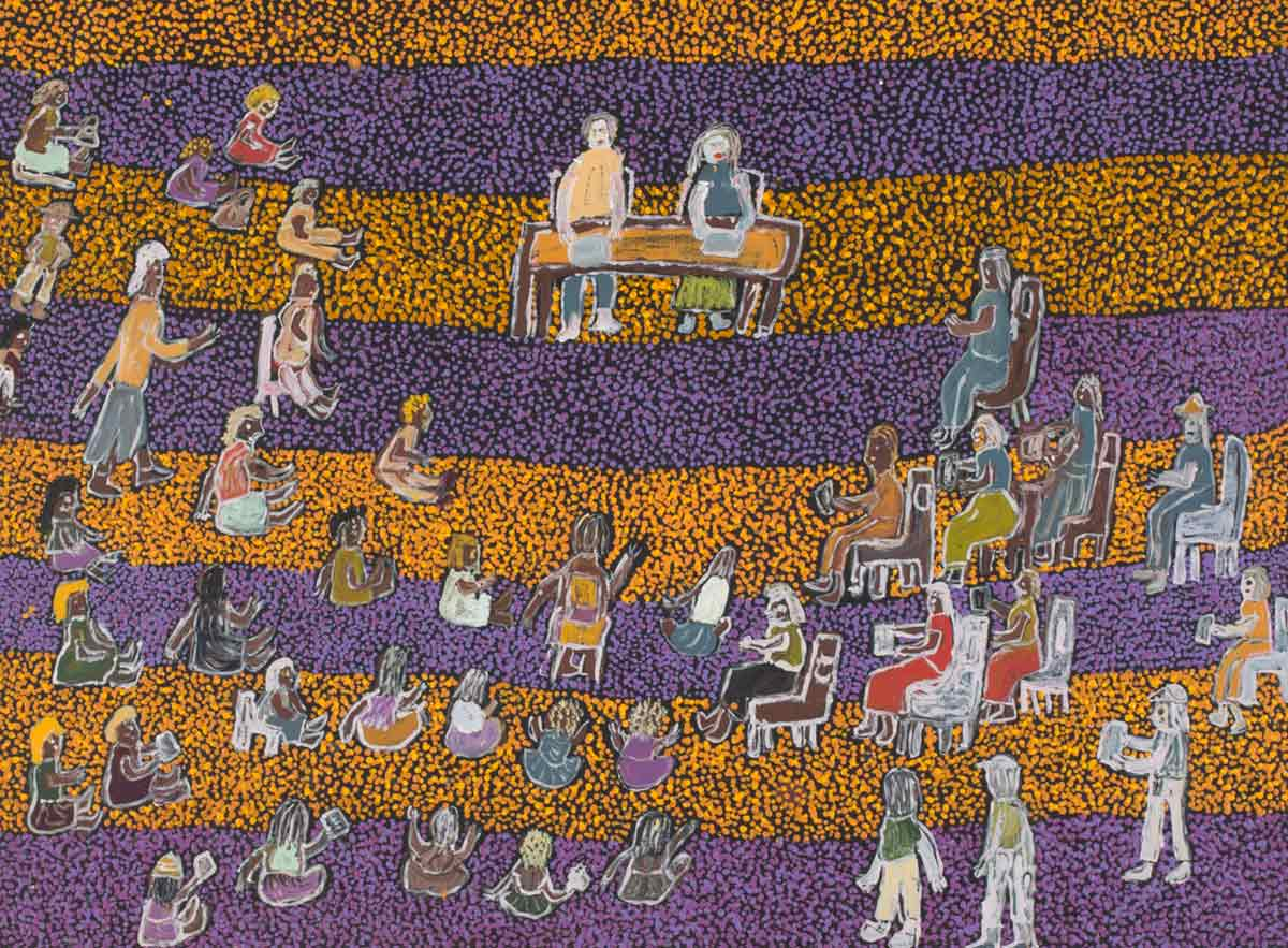 A painting with a background of alternate bands of purple and orange dots . In the upper centre section there is a table at which two figures are sitting. Around this are grouped a number of people either sitting on chairs or on the ground. - click to view larger image