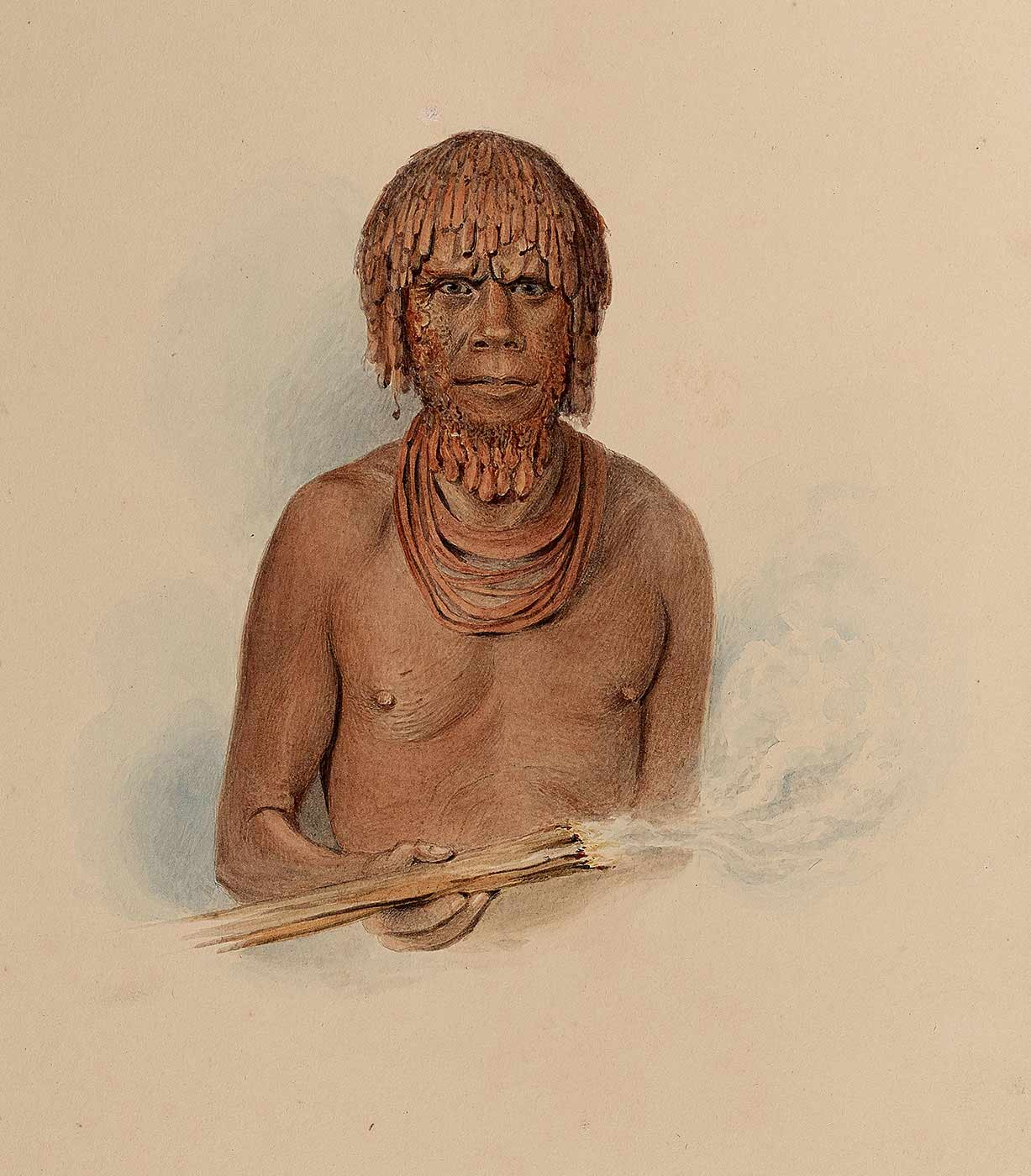 Watercolour painting featuring an Aboriginal man with dressed hair and beard; he is wearing necklaces and holding a fire stick. - click to view larger image