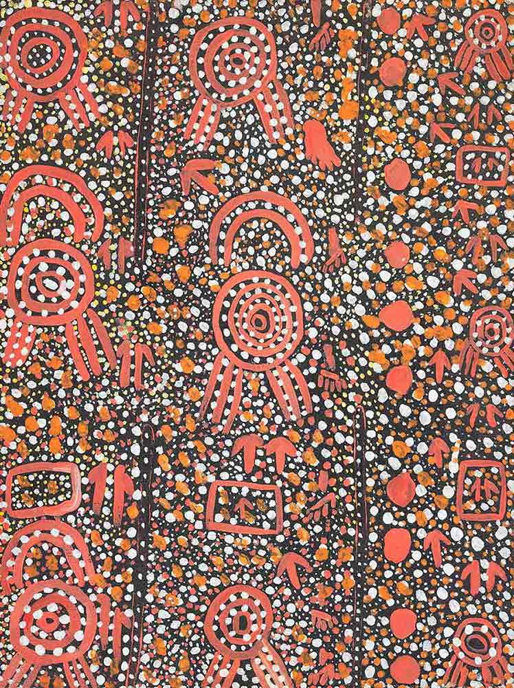 Mala and the Bad Uncles at Tjikarri (II) 1974 by Johnny Warangkula Tjupurrula. - click to view larger image