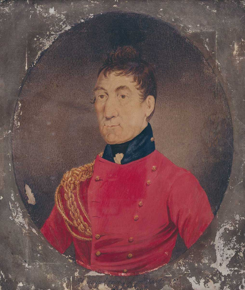 Painting of a man wearing a red uniform. - click to view larger image