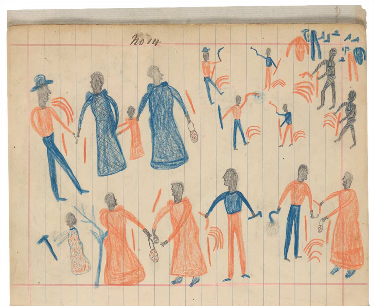 Sketchbook drawings of multiple figures drawn in blue, orange and black. - click to view larger image