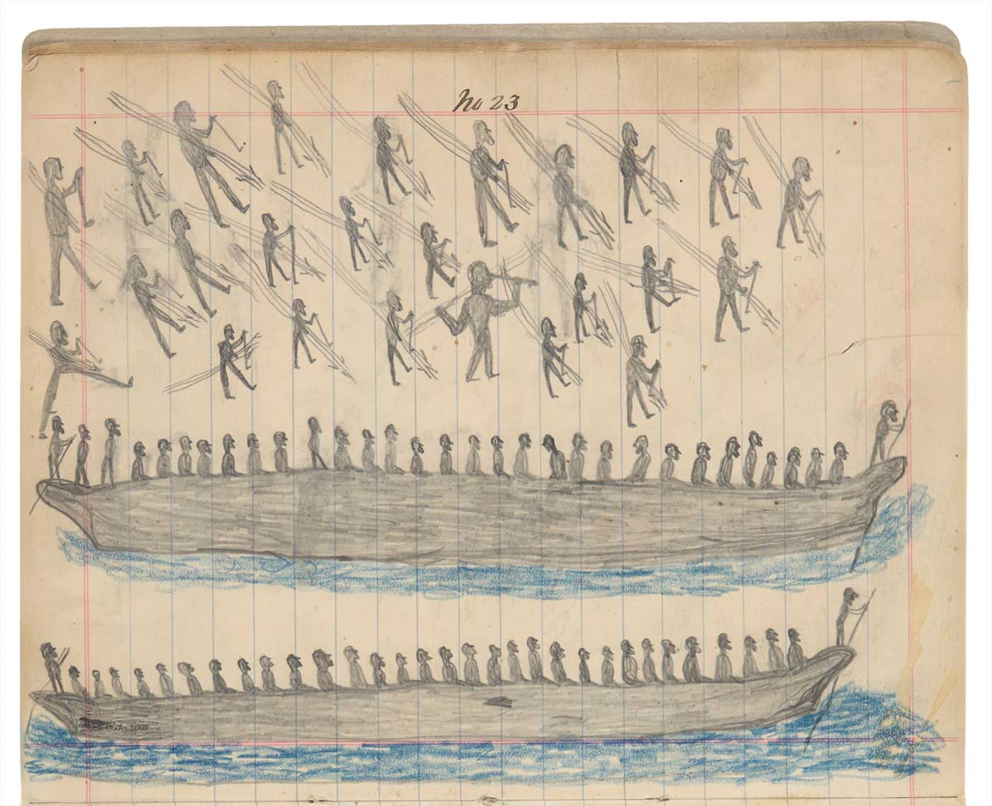 Sketchbook drawing of multiple figures and two longboats full of figures - click to view larger image