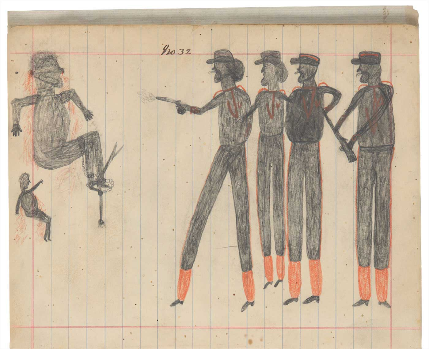 Sketchbook drawings of four men in uniform pointing a gun at two Indigenous people - click to view larger image