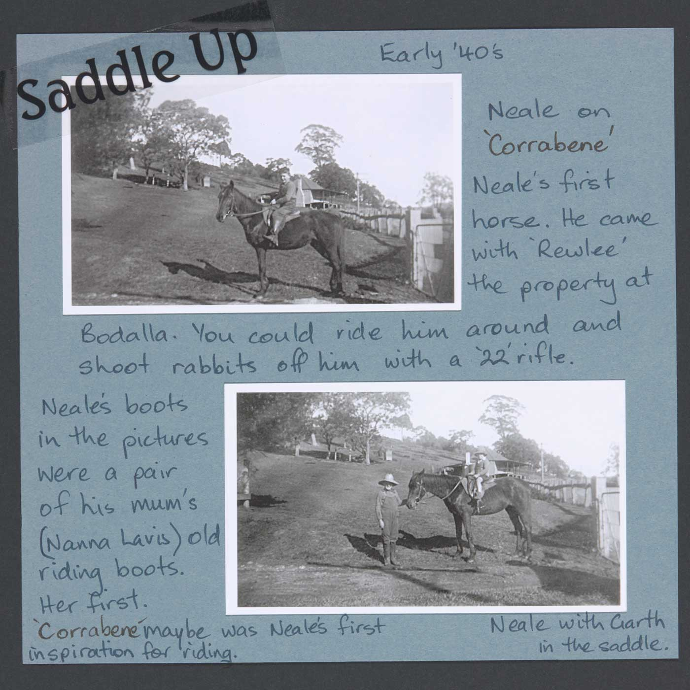 Neale riding Corrabene at 'Rewlee', near Bodalla, early 1940s - click to view larger image