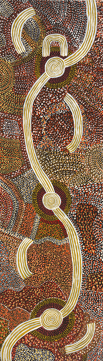 Dreaming of Matjadji (Matjatji) 1975 by David Corby Tjapaltjarri. - click to view larger image