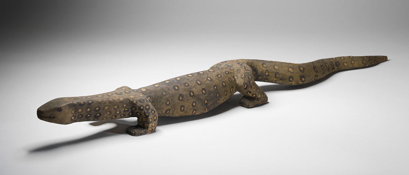 Perentie (Lizard) 1980 made by Tim Leura Tjapaltjarri.