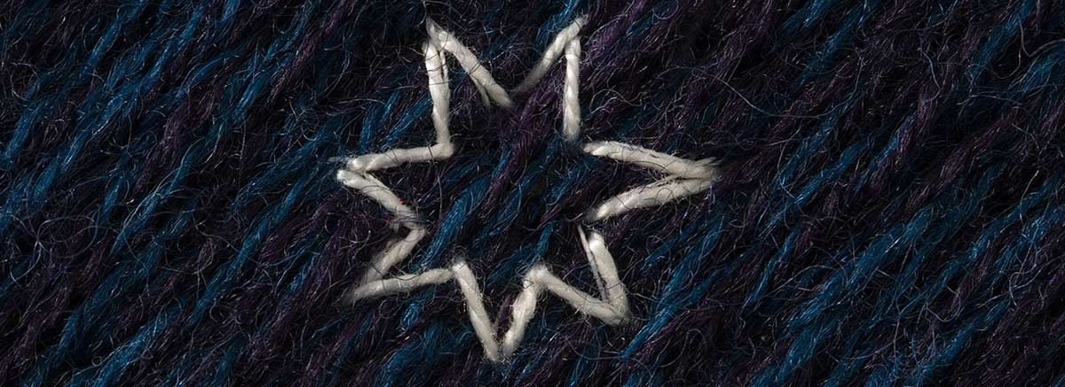 A detail image from panel six of 'The Crimson Thread of Kinship' embroidery featuring the Federation star. - click to view larger image