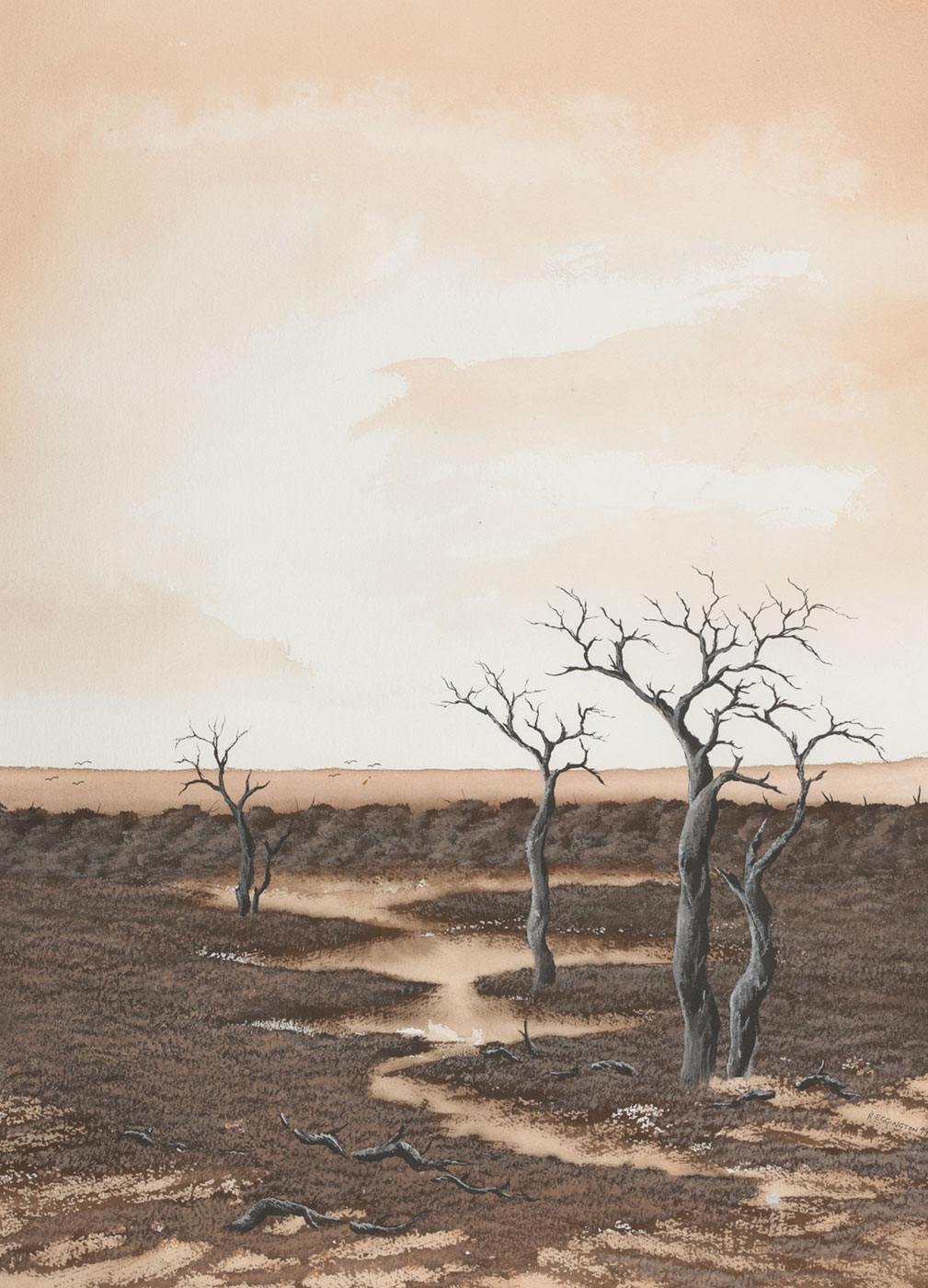 Painting featuring a landscape with dead trees and swampland. - click to view larger image