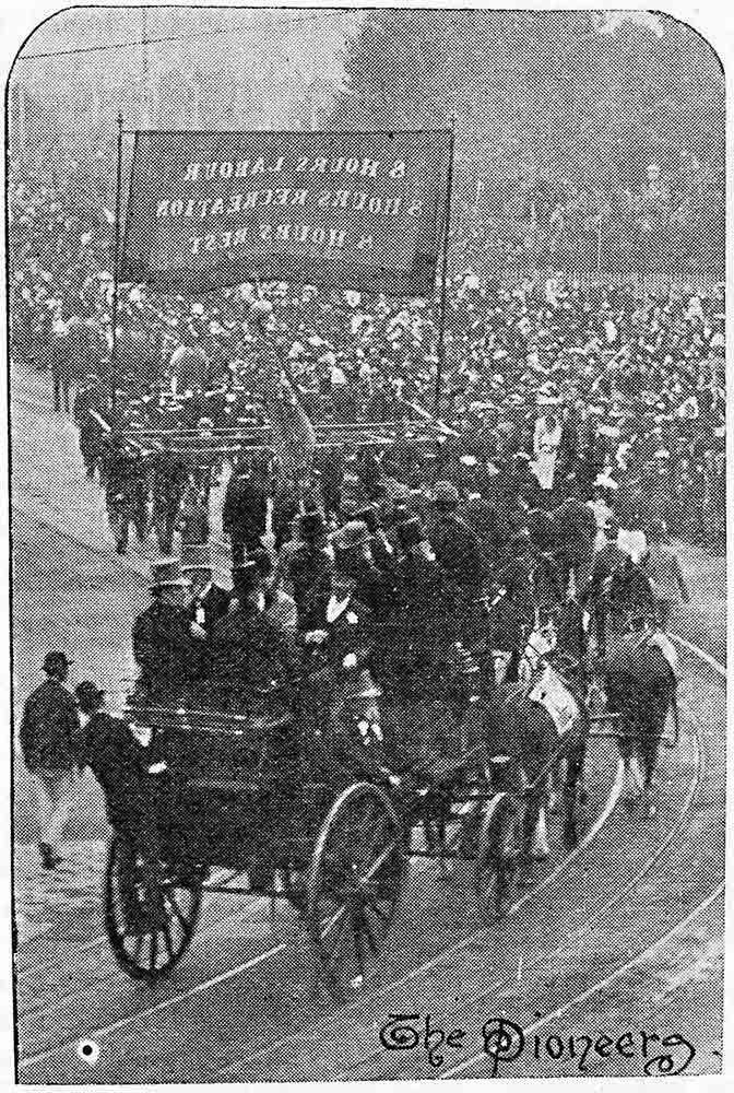 Newspaper clipping of a large procession of people. - click to view larger image