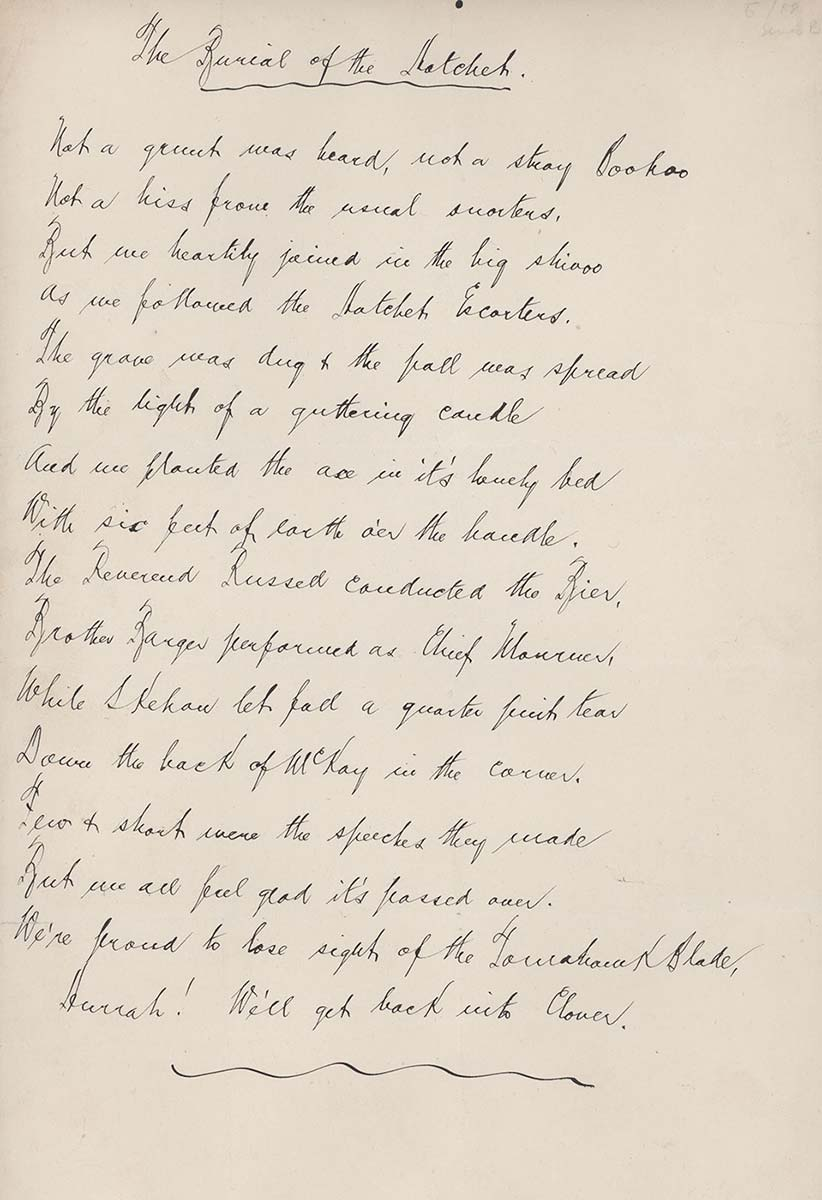 Handwritten 16-line poem entitled 'The Burial of the Hatchet' which was written by journalist Nathaniel McKay to commemorate the end of the agricultural Implements workers' strike.