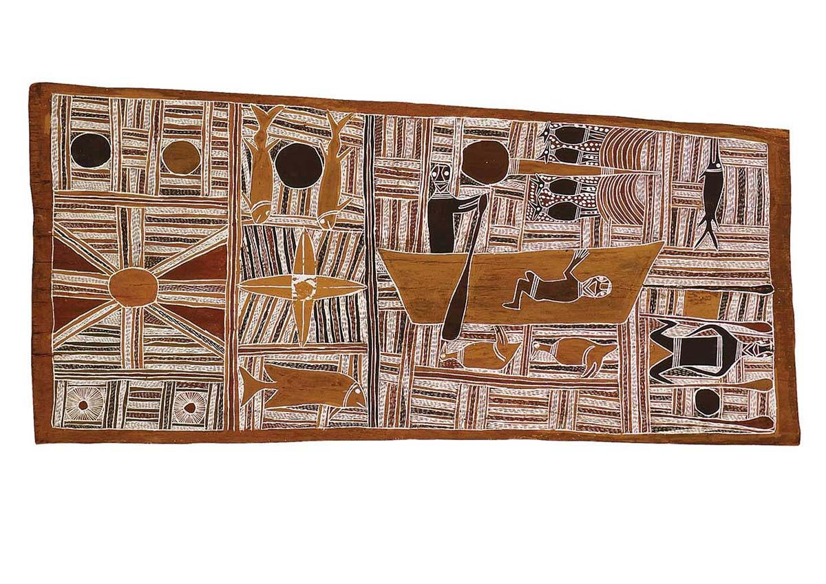 An Australian Indigenous painting on bark. The bark is arranged in landscape format ie the longest sides are horizontal. The painting consists of many traditional line patterns. Near the centre is a figure in a rowing boat. The colours in the painting are mainly earth tones ie reds, browns and ochres. The brown of the bark can be seen around the edge of the painting. - click to view larger image