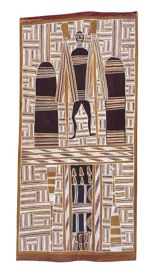 An Australian Indigenous painting on bark. The bark is arranged in portrait format ie the vertical sides are longer than the horizontal sides. In the top half of the painting, a human figure is depicted standing between two tall columns, each banded with traditional line patterns. More traditional line patterns are in the remainder of the painting. The colours of the painting are earth tones ie browns and ochres. White pigment has been used in many of the line patterns. - click to view larger image