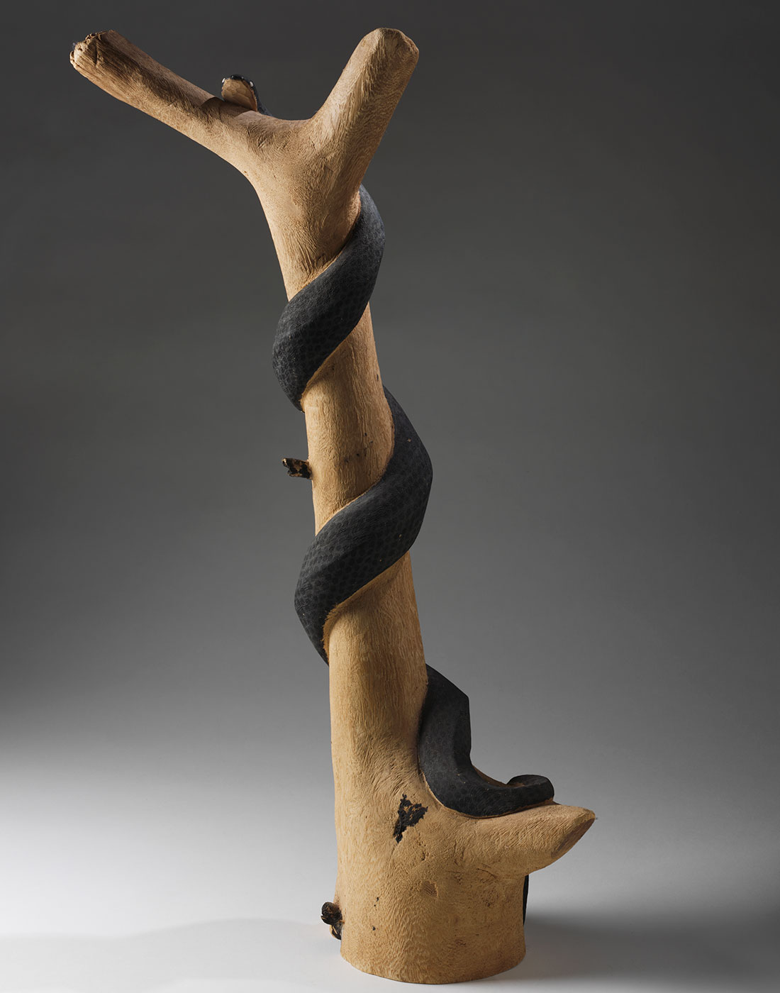 Wooden sculpture of a snake. - click to view larger image
