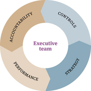 Doughnut chart. Four equal sections labelled: 'Accountability', 'Controls', 'Strategy', 'Performance'. The centre of the doughnut is labelled 'Executive team'.