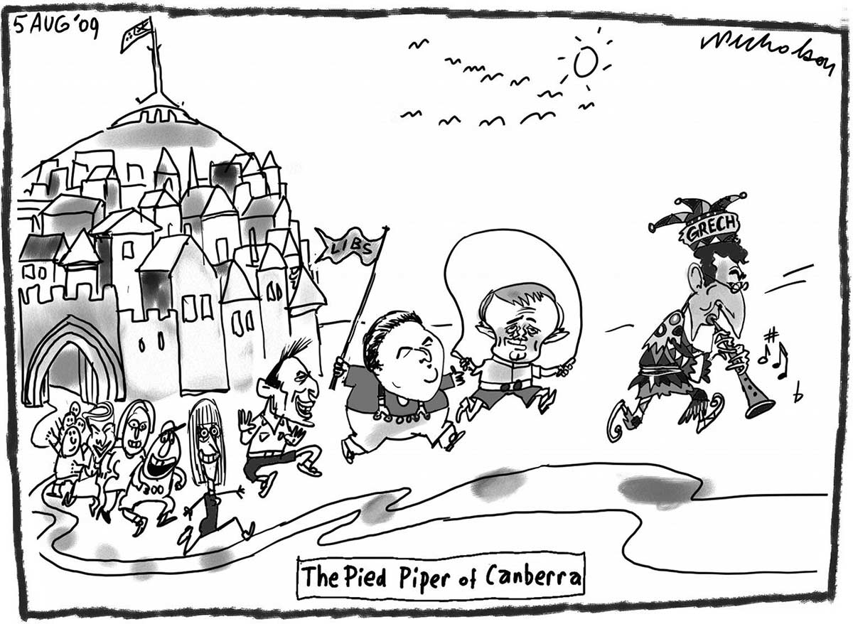 A black and white cartoon titled 'The Pied Piper of Canberra'. A figure dressed as a fool or harlequin wears a hat with name 'Grech' and plays a pipe with notes floating around it. Behind him Liberal Party ministers are portrayed as children following the piper: Malcolm Turnbull with a jump rope, Joe Hockey waving a 'Libs' flag, Tony Abbott kicking up his heels, Julie Bishop running and grinning. In the background is a medieval village with the flag pole of Parliament House at its centre. - click to view larger image