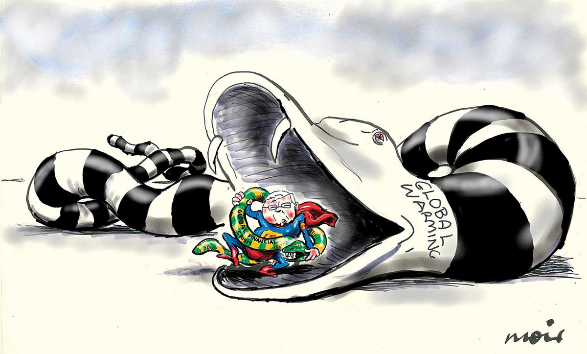A colour cartoon depicting Kevin Rudd dressed as a superhero, in red and blue costume and cape, wrestles a small snake. The snake has green and gold stripes and the text 'Global financial crisis' written on its body. Mr Rudd stands in the opened mouth of a much larger python, labelled 'Global warming'. This snake has black and white stripes, red eyes and sharp fangs. - click to view larger image