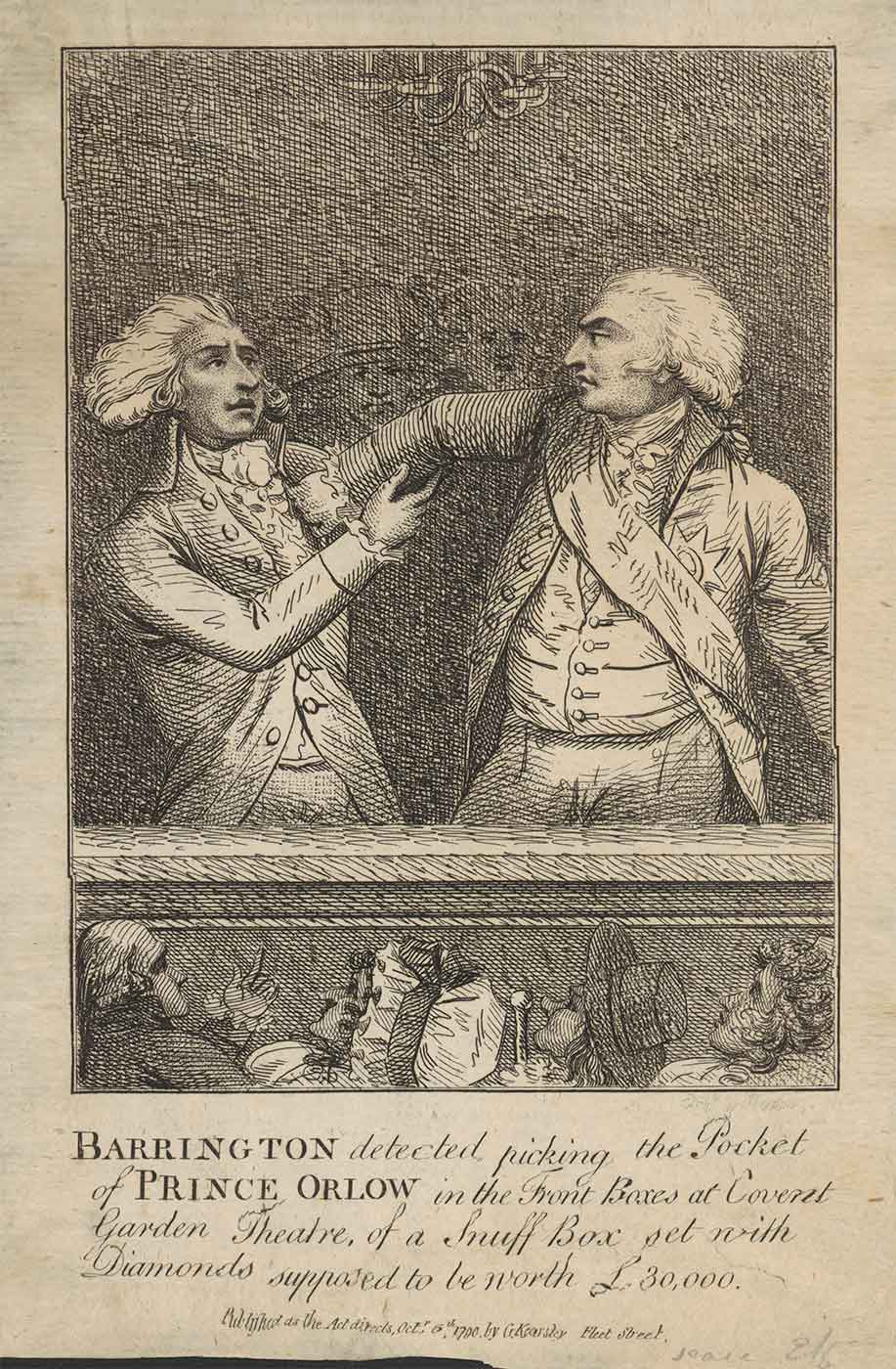 Print illustration of two men in 18th Century attire. One man is attempting to pick-pocket the other man, while people look on. - click to view larger image