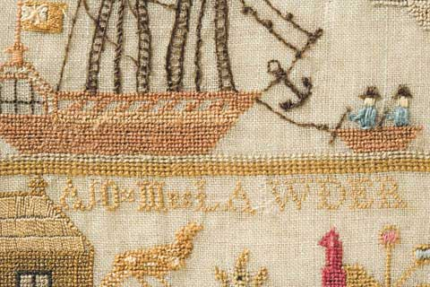 Detail from a needlework sampler, showing a sailing ship, with a smaller boat being rowed by two men at the right. Alphabetic characters, part of a house and bird-like figures are also visible.